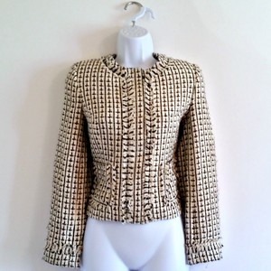Apostrophe Tweed Collarless Woven Fitted Black and Cream Blazer