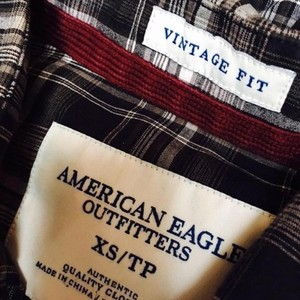 American Eagle Outfitters Menswear 100% Cotton Button Down Shirt Gray