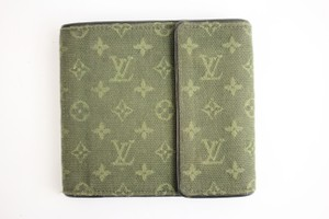 Louis Vuitton Mini Lin Compact Wallet Green 27LVA901