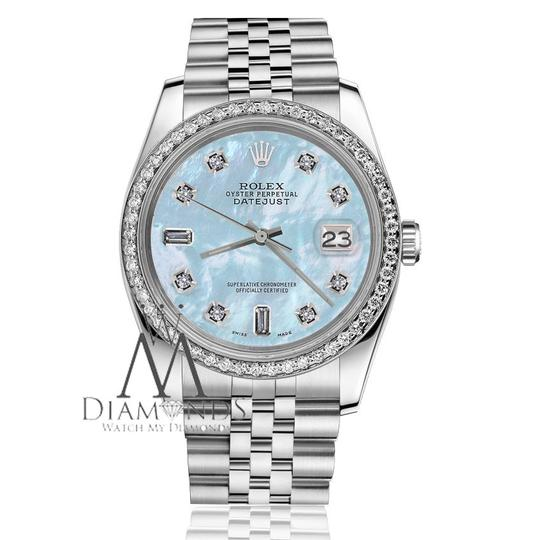 Rolex Ladies 31mm Datejust Blue MOP Mother Of Pearl Dial Diamond Watch