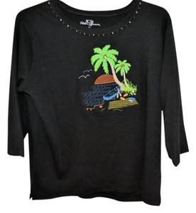 Palm Grove Xl Cotton Knit 3/4 Sleeve T Shirt Black