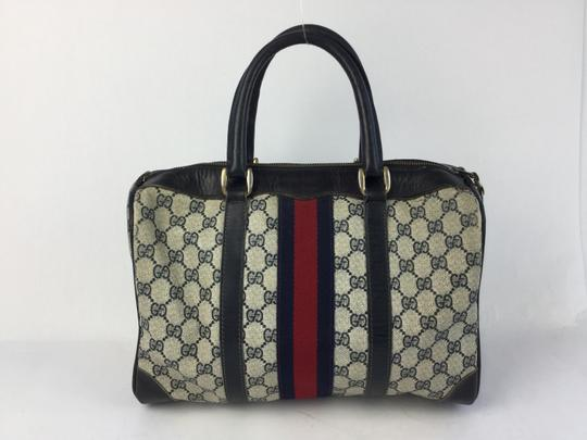 Preload https://item3.tradesy.com/images/gucci-boston-monogram-navy-and-white-leather-satchel-19353972-0-2.jpg?width=440&height=440