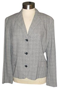 Ralph Lauren Wool Blend Jacket Size 18w Glen Plaid Black/White Blazer