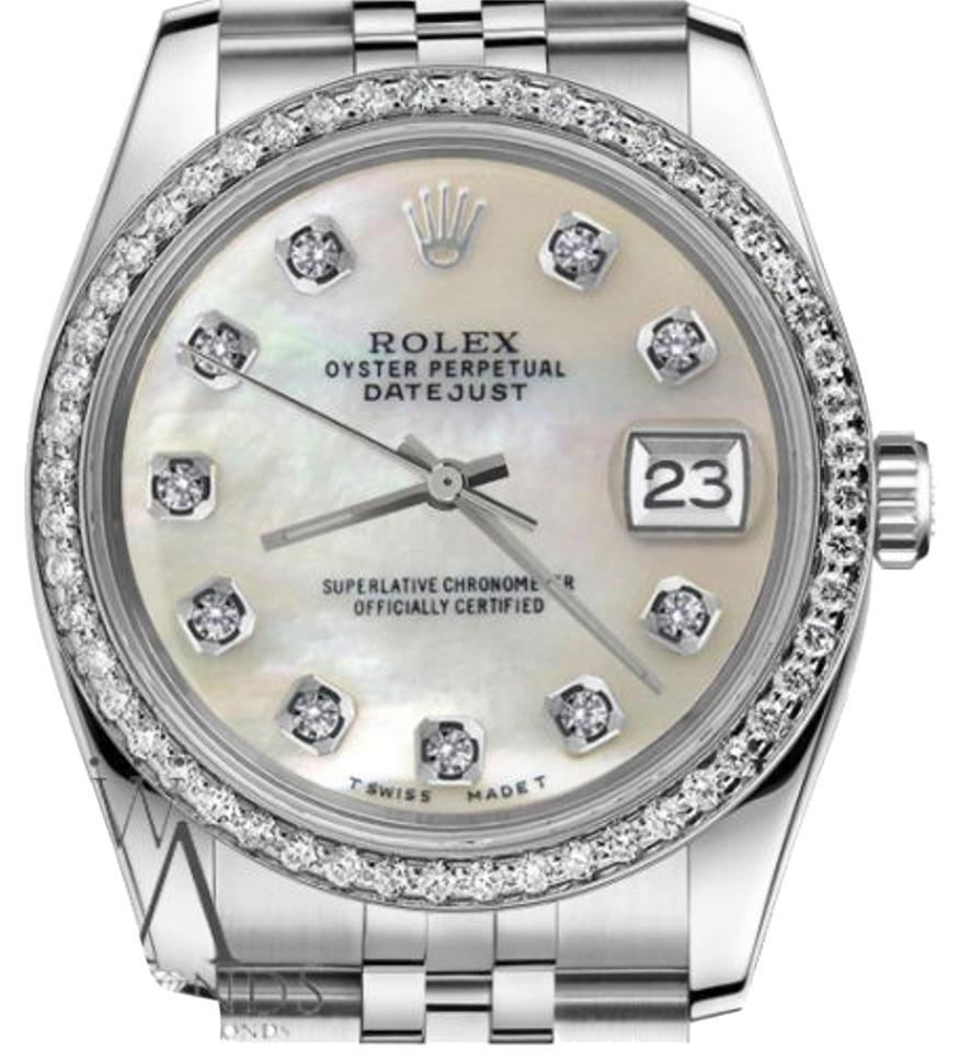Rolex Ladies 31mm Datejust White MOP Mother Of Pearl Diamond Dial Watch ... df854c902f2e