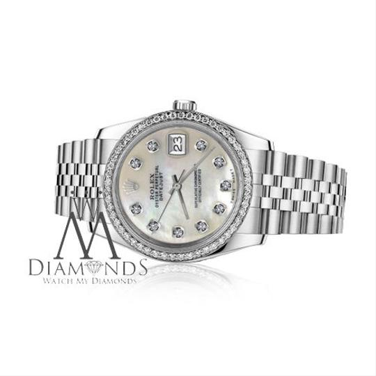 Rolex Ladies 31mm Datejust White MOP Mother Of Pearl Diamond Dial Watch