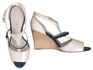 Tod's Navy blue and nude Wedges