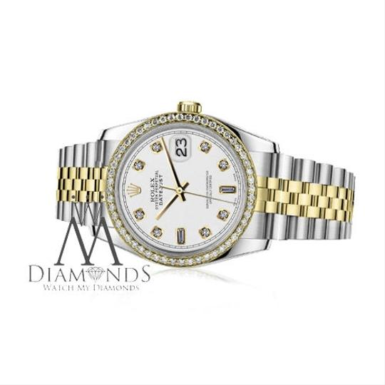 Rolex Men`s 36mm Datejust 2 Tone White Color Dial 8+2 Diamond Accent RRT