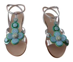 Miu Miu Dazzling Design Glitter & Crystals Made In Italy Silver/Blue/Green Sandals
