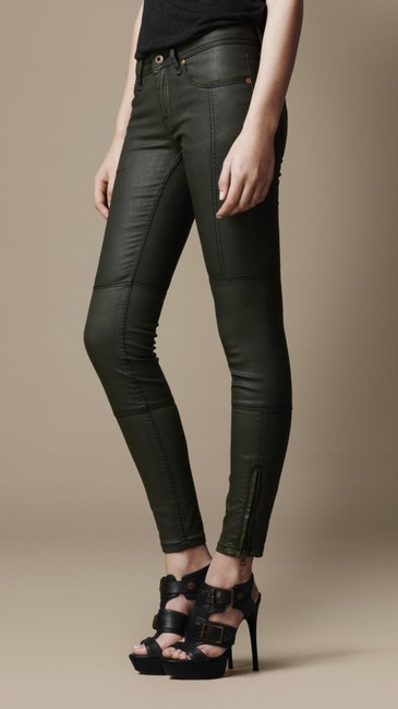 Item - Green Coated Brit Cannon Seam Detail Wax Oregano Bn Skinny Jeans Size 28 (4, S)