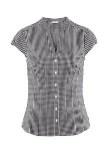 H&M Black White Checkered Plaid Button Down Shirt Black Checkered