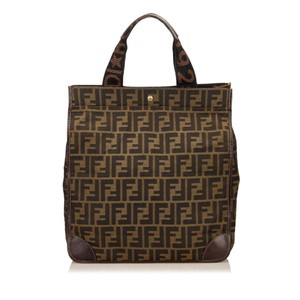 Fendi Black Brown Fabric Tote