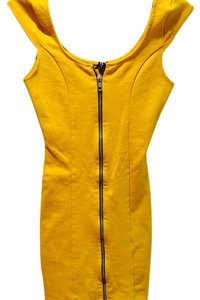 Divided by H&M Mustard Zip Front Cap Sleeve Dress