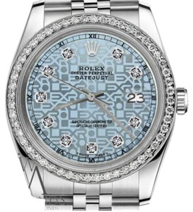 Rolex Men`s 36mm Datejust Jubilee Ice Blue Color Dial Diamond Accent Watch