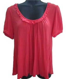 Anthropologie Ruffled Pink Summer Keyhole Top Coral