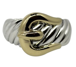 David Yurman David Yurman 18 Karat Yellow Gold Sterling Silver Buckle Ring