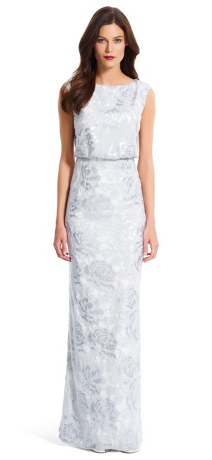 Preload https://item3.tradesy.com/images/adrianna-papell-silver-sequin-blouson-gown-long-formal-dress-size-16-xl-plus-0x-19354367-0-0.jpg?width=400&height=650