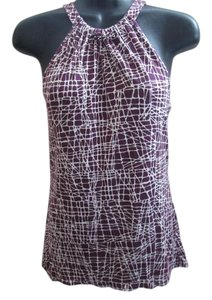 Ann Taylor Cold Abstract Summer Formal Top Purple & White