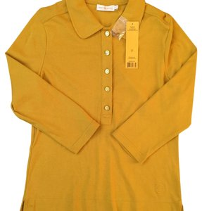 Tory Burch Polo Button Up Top Mustard Yellow