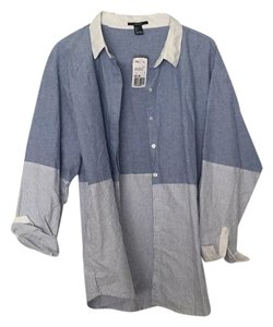Forever 21 Button Down Shirt Blue