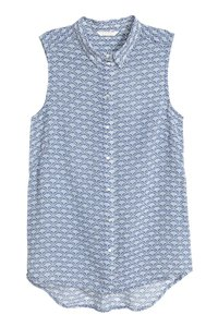 H&M Formal Top blue/white patterned