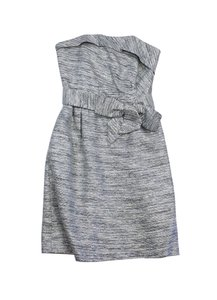 Kate Spade short dress Silver Metallic Striped Strapless on Tradesy