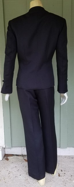 Larry Levine LARRY LEVINE Black Square Quilted Asian Style Pantsuit Suit 4 Pants