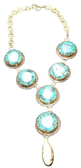 Preload https://item2.tradesy.com/images/gold-turquoise-handmade-6-nugget-with-sea-pearl-drop-necklace-19354716-0-1.jpg?width=440&height=440