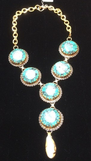 Other Turquoise Handmade 6 Nugget with Sea Pearl Drop Necklace