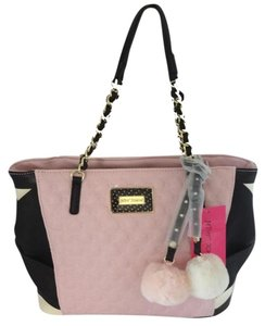 Betsey Johnson Gold Tone Hardware Tote in black/ pink