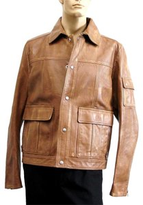 Gucci Leather Blazer Brown Leather Jacket