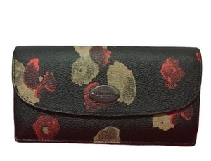 Coach Coach Soft Black Floral Coated Canvas Slim Envelope Wallet