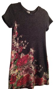 Francesca's short dress charcoal gray floral sweater dress. Size S Dry Clean Only on Tradesy
