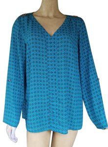 Zac & Rachel Tunic Silky Adjustable Sleeves Top Turquoise