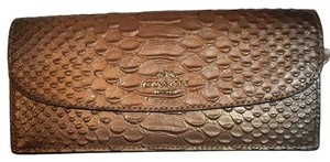 Coach Coach Gold Metallic Tipped Embossed Snake Leather Soft Wallet 53641