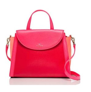Kate Spade Cedar Street Satchel in crab red/coral sunset/parrot feather