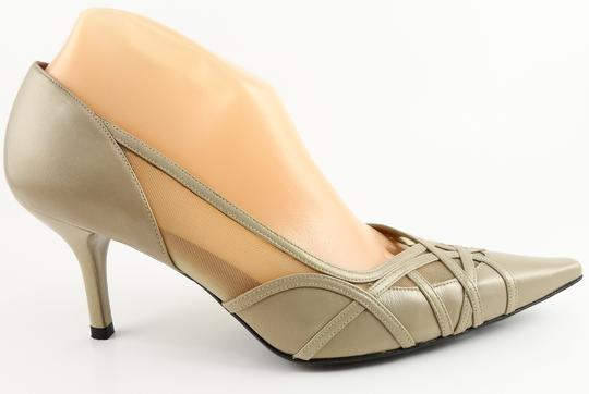 Stuart Weitzman Rivers Designer Pointed Toe Size 8.5 Taupiary GoldWash Pumps