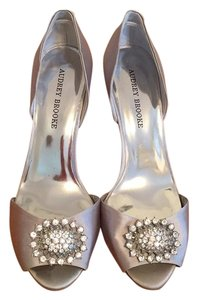Audrey Brooke Wedding Pumps Bridal Silver Formal
