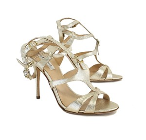 L.K. Bennett Angie Gold Leather Strappy Sandals