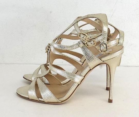 L.K. Bennett Angie Leather Strappy Heels Gold Sandals