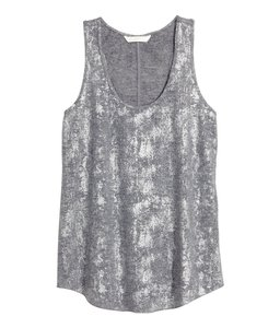 H&M Shimmery Grey Top grey/shimmery/silver