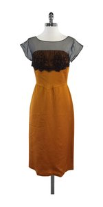 Miguelina short dress Burnt Orange Black Silk Short Sleeve on Tradesy