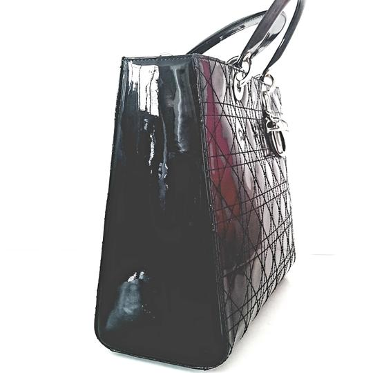Dior Patent Leather Lady Cannage Tote in Black