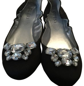 Guess Satin Jewel Toe Ballet Black Flats