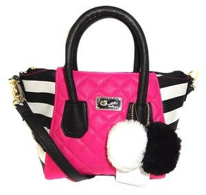 Betsey Johnson Small Satchel Fuchsia Striped Sides Pom Poms Cross Body Bag