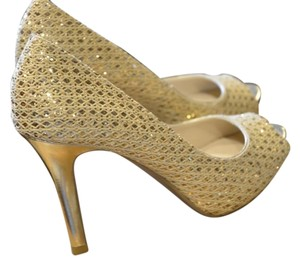 Audrey Brooke Sparkle Peep Toe Gold Pumps