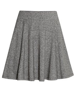 H&M Grey Elastic Cotton Mini Skirt grey/black melange