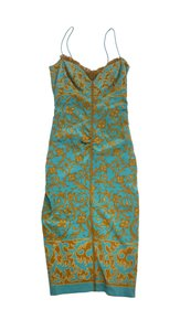 Nicole Miller short dress Teal & Gold Floral Silk Spaghetti Strap on Tradesy