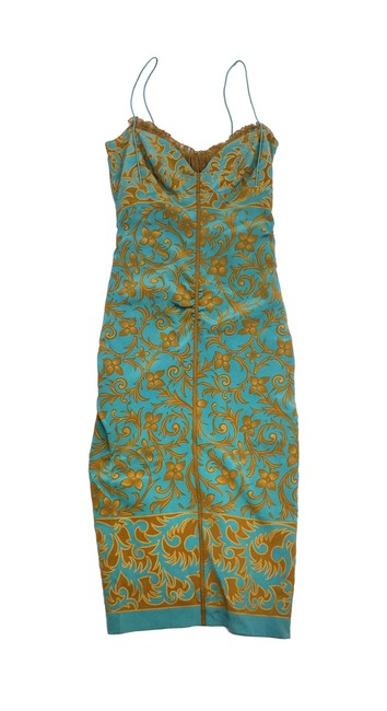 Preload https://img-static.tradesy.com/item/19355918/nicole-miller-teal-and-gold-floral-silk-spaghetti-strap-high-low-short-casual-dress-size-0-xs-0-0-650-650.jpg