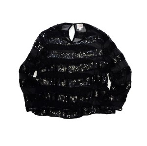 Parker Black Silk Sequenced Striped Top