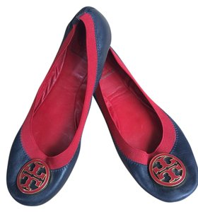 Tory Burch Leather Blue/Red/Gold Flats
